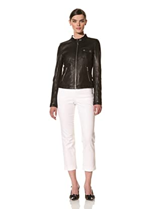 Tommy Hilfiger Women's Washed Leather Jacket (Black)