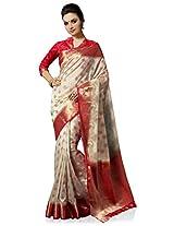Meghdoot Artificial Silk Saree (VIVAAH_MT1281_CREAMxCHERRY Woven Cream and Pink Colour Sari)