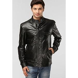 Kosher Men's Leather Jacket, Solid Black