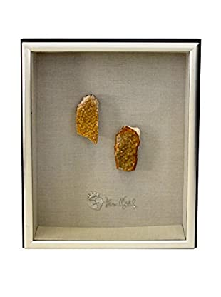 Theresa Seidel Shadow Box with Citrine Natural Stone, Tan/Black/Silver