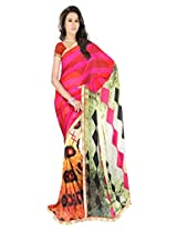 Sonal Trendz Multicolor Printed Saree. Weightless Fabric Printed Saree with Lace & Blouse. Festive Wear.