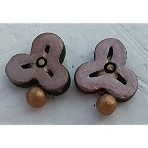 Petals Of Earth Terracotta Peach And Gold Stud Earrings