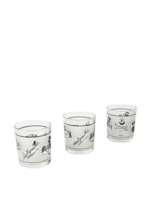 Delys by verceral Set De 3 Vasos Bajos De Vidrio Decorado