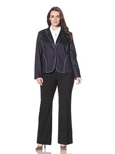 AK Anne Klein Women's One Button Blazer (Indigo)