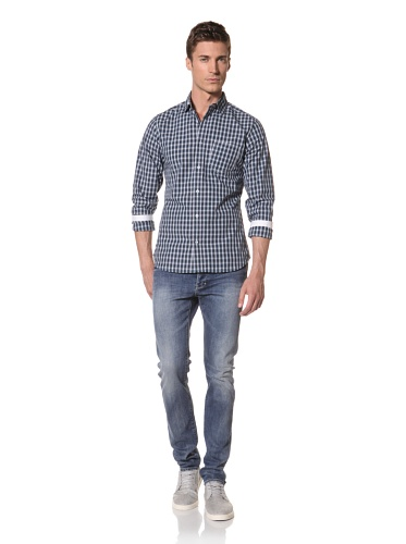 Descendant Of Thieves Men's Plaid Long Sleeve Woven Shirt (Teal/Navy)