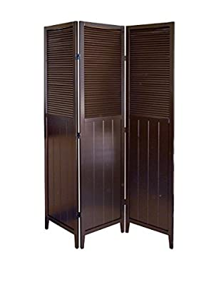 ORE International Shutter Door 3-Panel Room Divider, Espresso