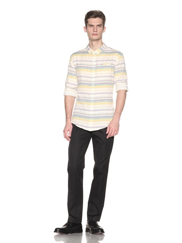Riviera Club Men's Mitano Stripe Shirt (Rainbow Purple)