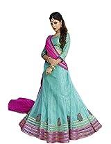Suchi Fashion Turquoise and Pink Net Embroidery Border Work Semi Stitched Lehenga