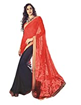 Blue Red Color Georgette Chiffon Saree with Border and Blouse 10623