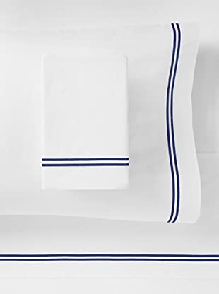 Mason Street Textiles Two Cord Sheet Set (White/Navy)