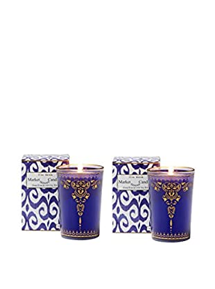 Market Street Candles Set of 2 Vanilla Musk Scented Moroccan Henna Candles, Blue