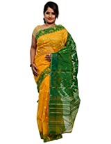 Stunning Yellow and green Dhakai Jamdani Cotton Silk Saree (JOSR0000087, Green & Yellow)