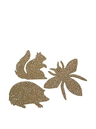 Wendy Addison Set of Three Glittered Nature Ornaments