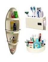 CiplaPlast Combo of Kangaroo Corner Bathroom Cabinet, Tooth Brush Holder & Multi-Purpose Container - Ivory