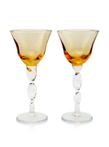 Villa d'Este Set of 2 Stem Wine Glasses (Amber)