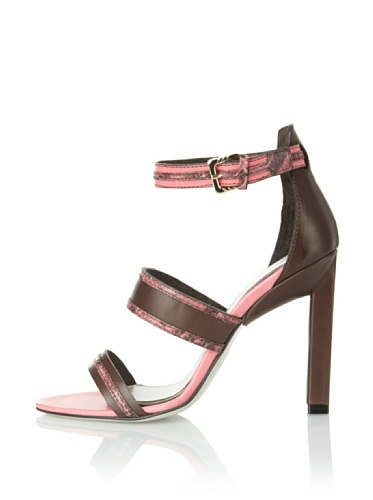 JASON WU Women's Raquel Ankle Strap Sandal (Brown/Pink)