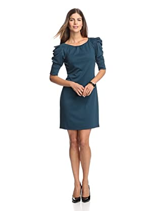 Jessica Simpson Women's Ponte Dress with Ruched Sleeves (Moroccan blue)