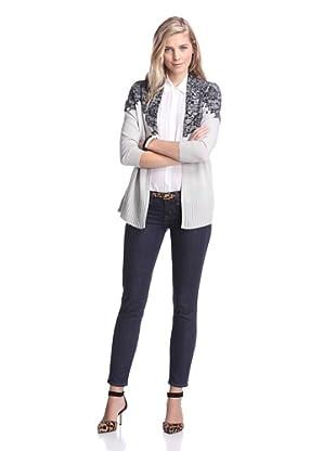Kier & J Women's Cashmere Lace Open Cardigan (Brume/Black Lace)