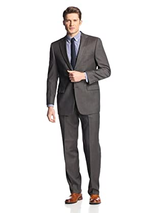 hickey Men's 2 Button Center Vent Suit (Brown/Grey)