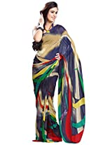 Fabdeal Women Indian Wear Printed Saree Navy Blue & Cream (ELX105ADP)