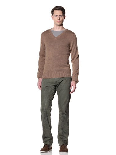Billy Reid Men's Pointelle V-Neck Pullover (Camel)
