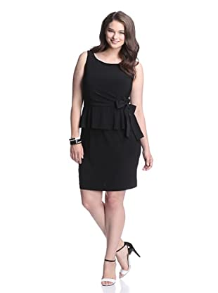 Taylor Women's Peplum Dress with Tie (Black)