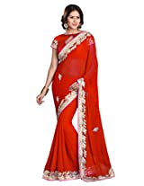 Sourbh Sarees Red Chiffon Must Have Best Sarees for Women Party Wear,Special Karwa Chauth Gifts for Wife,Women Clothing Collection
