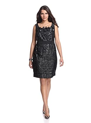 Taylor Women's Jacquard Flowered Sheath (Black/Silver)