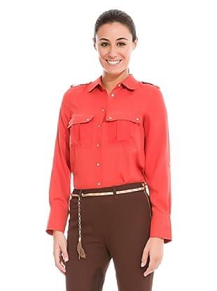 Cortefiel Camisa Bolsillos Plastrón (Rojo)