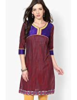 Maroon Cotton Straight Kurti