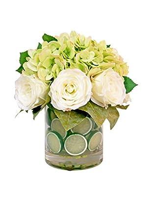 Creative Displays Hydrangeas, Roses, Lemon Leaves & Lime Slices in Glass Vase, Green/White