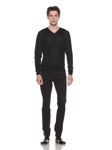 Halston Men's Contrast Trim V-Neck Sweater (Black)