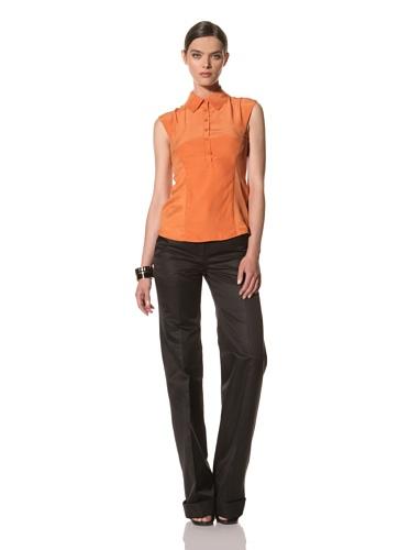 Bibhu Mohapatra Women's Sleeveless Cutout Blouse (Orange)
