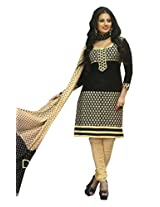 SGC Black Cotton Embroidery unstitched churidar kameez (R-9201)