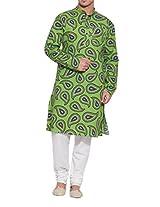Shaliindia Men Cotton Long Kurta Nehru Collar 3 pockets,M-CLK42-1026,Green,Size-42 Inch