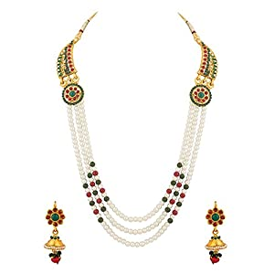 Endearing Necklace Set Embellished With Pearls And Colored Stones