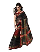 Black Color Cotton Blend Saree ( Lassya )
