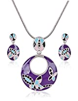 Estelle Silver Plated Necklace Set With Crystals and Multi Color (8515)