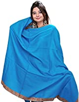 Exotic India Womens Wool Shawls ,Ocean Blue ,Free Size