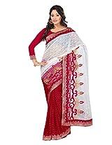 Vibes Women's Bhagalpuri Art Silk Saree,With Blouse (S54-VBK147_Red And White)