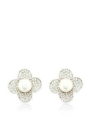 Vip de Luxe Pendientes Flor Perla Blanca