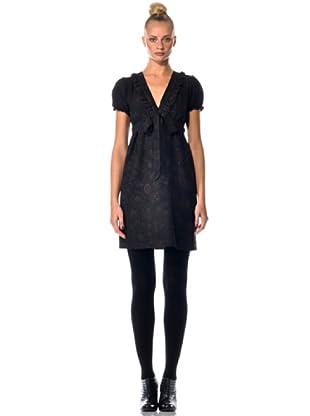 Eccentrica Kleid mit V-Ausschnitt (Schwarz)