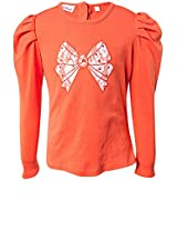 Hip Length Embroidered Orange Tops