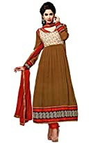 FadAttire Anarkali Suit with Elegant Patch and classic zari work on the border| sleeves and neck-Brown-FATB03