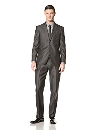 Tallia Men's Vasco Mini Herringbone Two-Button Suit (Charcoal)