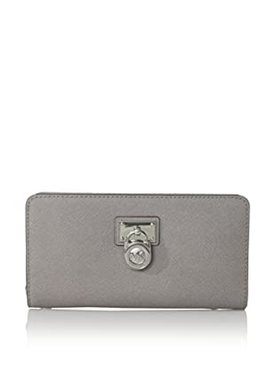 MICHAEL Michael Kors Women's Hamilton Zip-Around Saffiano Wallet, Pearl Grey