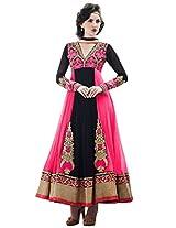 Inddus Exclusive Women Black & Pink Partywear Anarkali Suit Set