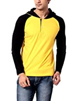Leana Men's Hooded Cotton T-Shirt (SR62_Yellow Black_XL)