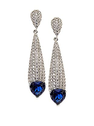 CZ by Kenneth Jay Lane Elongated CZ Sapphire Dramatic Post Earrings