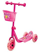TOYHOUSE Lil' Skate Scooter For Preschool Kids With Front Basket Pink